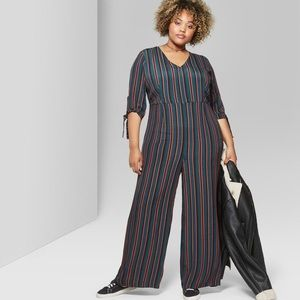 Wild Fable Striped Tie Sleeve Jumpsuit